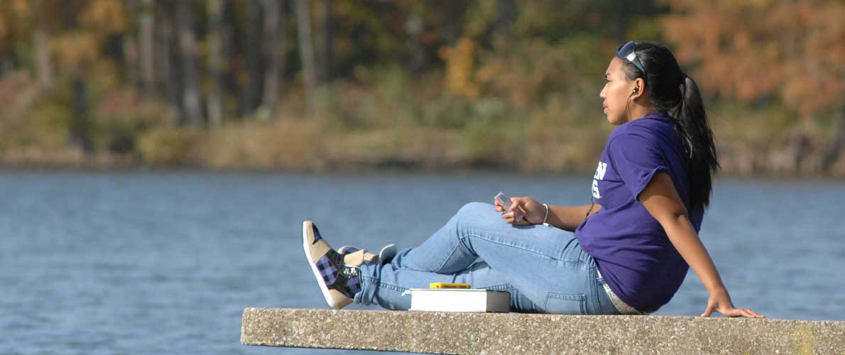 Student on lake