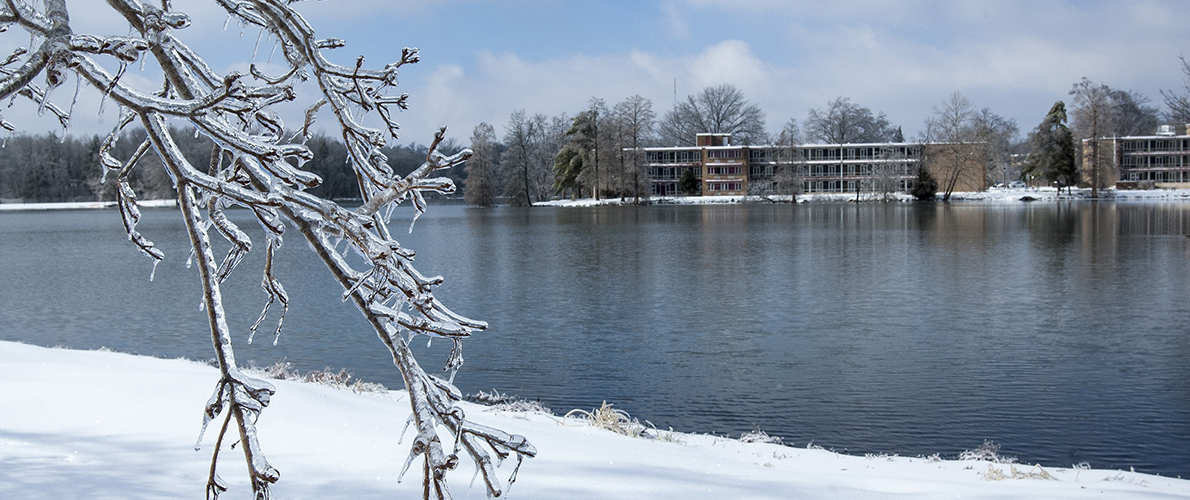 campus lake in the winter