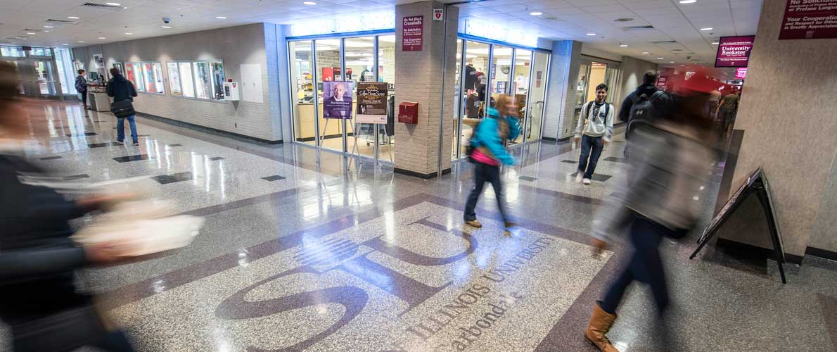 students waking in the student center